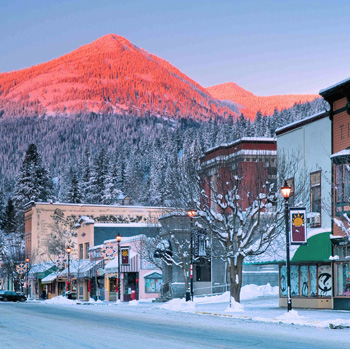 Rossland main street in the snow